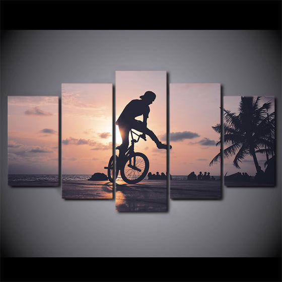 5 Piece canvas image Bicycle jump trick stunt biker bike - ASH Wall Decor - Wall Art Picture Painting Canvas Living Room