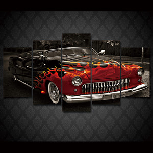 1949 Leadsled Mercury with flames  on 5 piece canvas : cheap canvas prints wall paintings pictures
