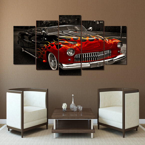 1949 Leadsled Mercury with flames  on 5 piece canvas - ASH Wall Decor - Wall Art Canvas Panel Print Painting