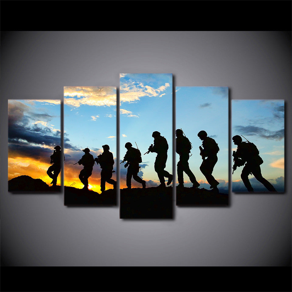 ... 5 Piece Canvas Art American Soldier Silhouette Canvas Painting Wall  Pictures For Living Room   ASH ... Part 92