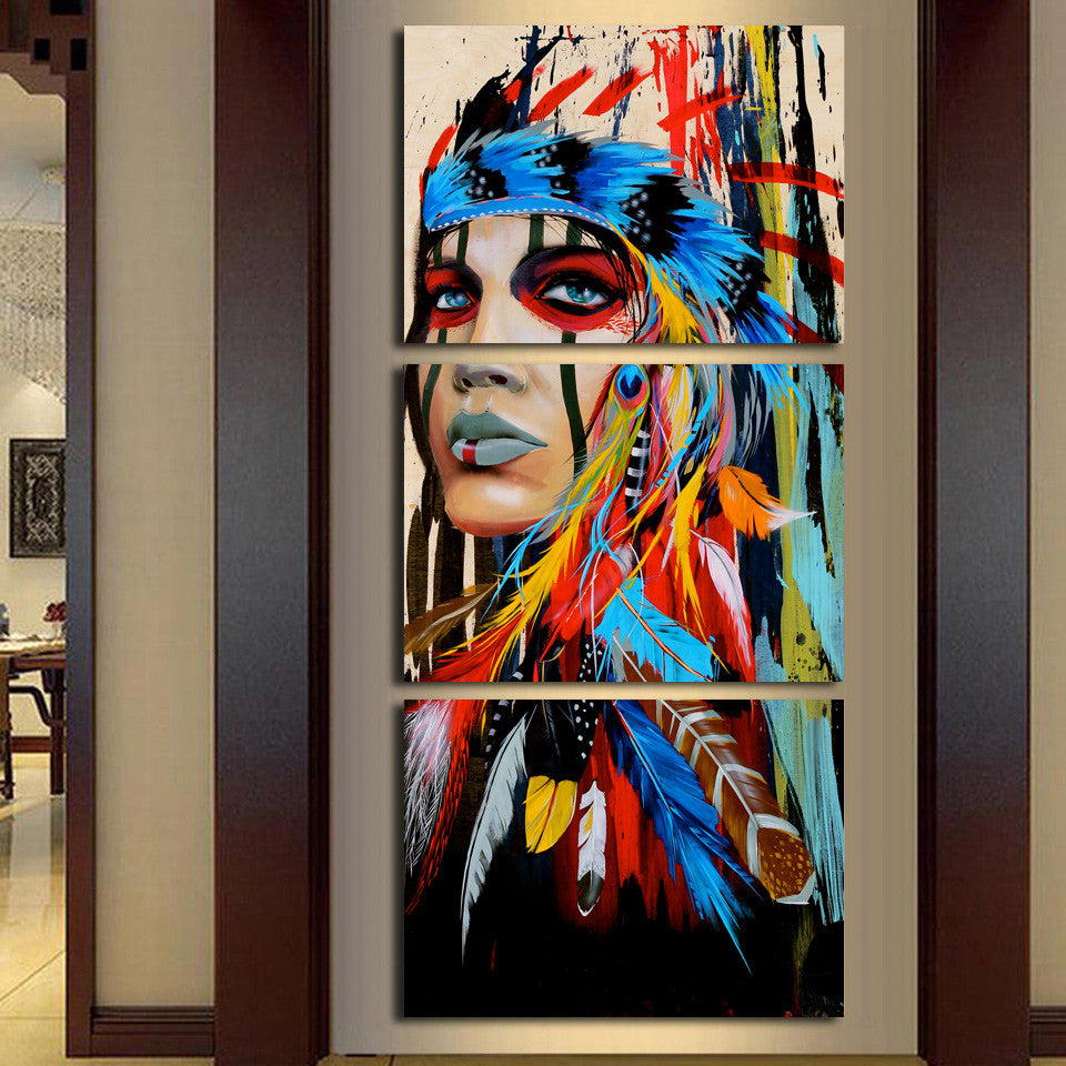3 piece canvas art American Indian canvas feathered - ASH Wall Decor - Wall Art Canvas Panel Print Painting