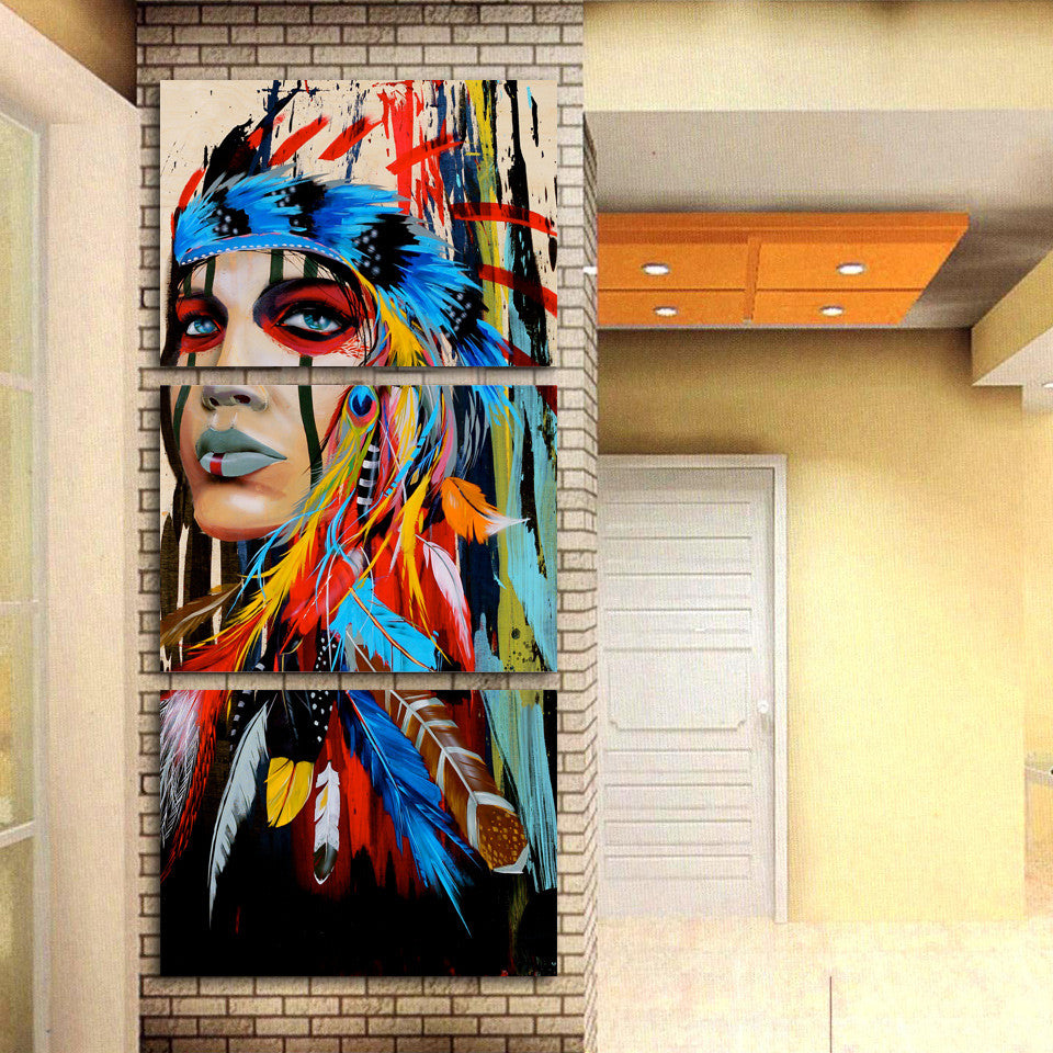 ... 3 Piece Canvas Art American Indian Canvas Feathered   ASH Wall Decor    Wall Art Canvas ...