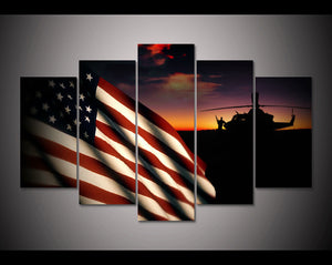 American Flag Military Helicopter at Sunset 5 Panel Wall Art Canvas Panel Print - ASH Wall Decor - Wall Art Canvas Panel Print Painting