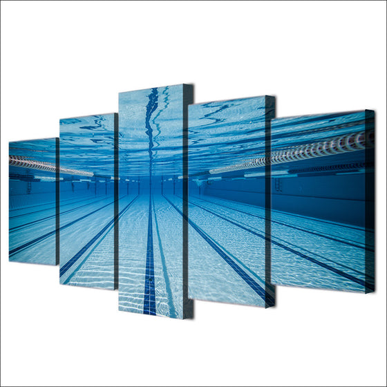 Swimming pool underwater 5 piece wall art canvas decor - ASH Wall Decor - Wall Art Picture Painting Canvas Living Room