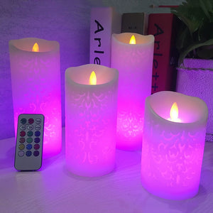Dancing flame LED Candle with RGB Remote Control,Wax Pillar Candle