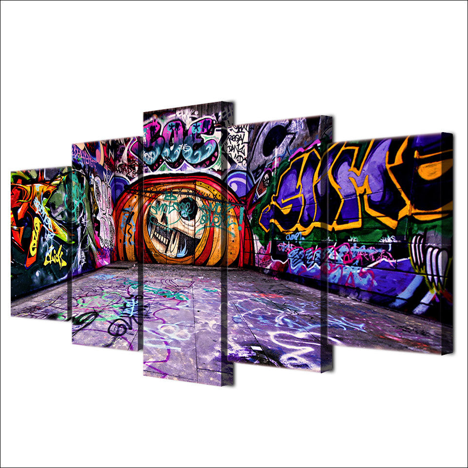 Abstract graffiti art 5 piece canvas print wall art canvas purple cheap canvas prints wall