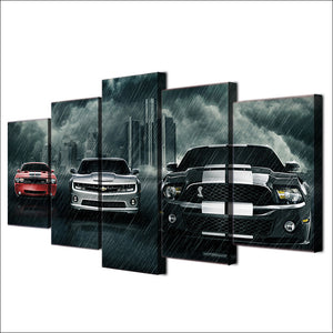 5 Piece Canvas Art Muscle Cars - Mustang, Challenger, Camaro Picture Print : cheap canvas prints wall paintings pictures
