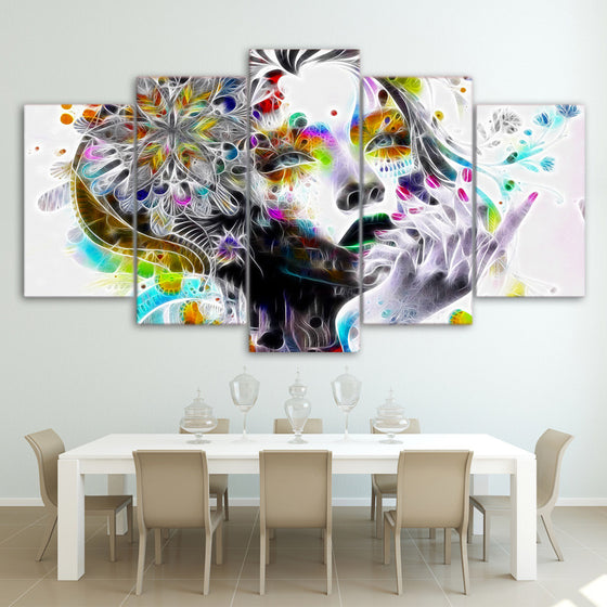 5 piece canvas art wall art - Urban princess modern psychedelic graffiti print - ASH Wall Decor - Wall Art Picture Painting Canvas Living Room
