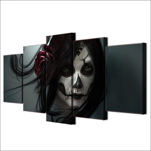 Day of the Dead Face Girl 5 piece wall art - ASH Wall Decor - Wall Art Canvas Panel Print Painting