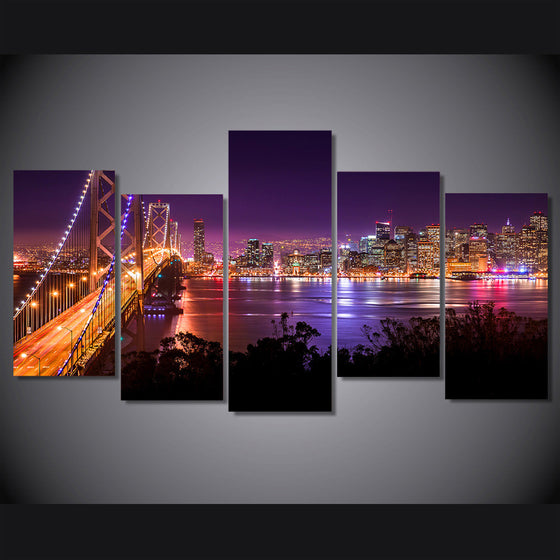 San Francisco Night Sunset  Bridge Canvas Wall Art - ASH Wall Decor - Wall Art Picture Painting Canvas Living Room