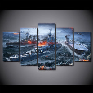 World of Warships Battle Battleships War Gaming Wall Art on Canvas Print - ASH Wall Decor - Wall Art Canvas Panel Print Painting