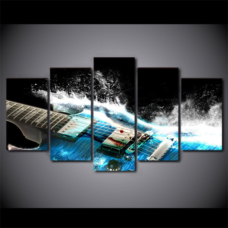 ... 5 Pieces Canvas Art Printed Abstract Guitar Wall Art   ASH Wall Decor   Wall  Art ...