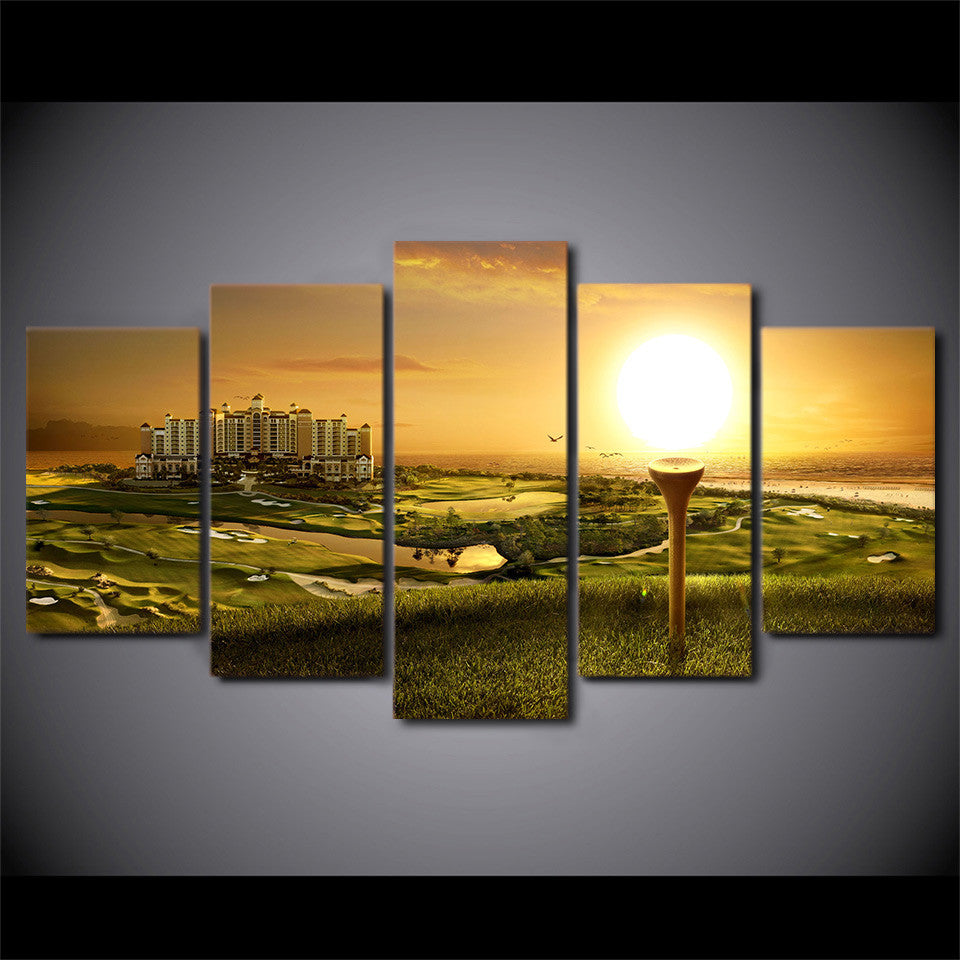 5 Pcs Golf Course City Tee Wall Art at Sunset panel wall art print ...