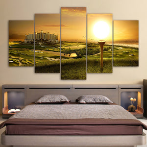 5 Pcs Golf Course City Tee Wall Art at Sunset  panel wall art print on canvas : cheap canvas prints wall paintings pictures