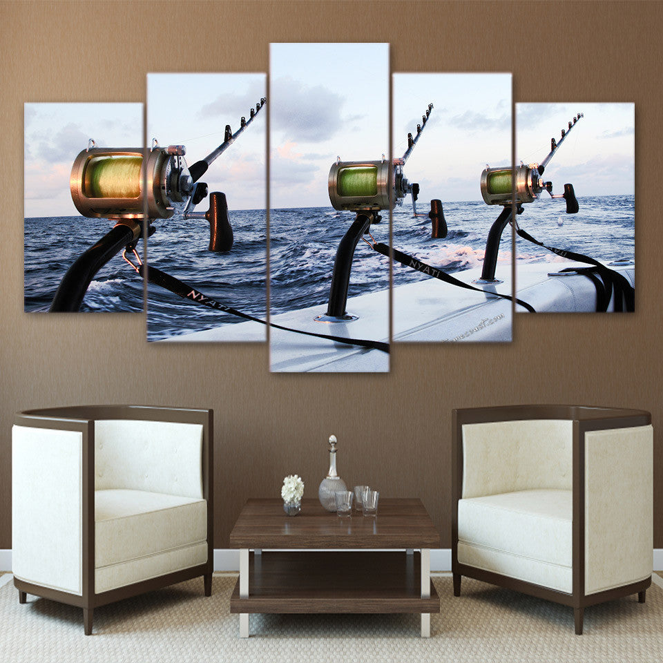 5 Pieces canvas Fishing rod at sea - ASH Wall Decor