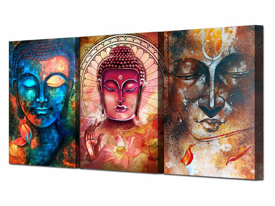 buddha wall art 3 piece wall art on canvas multi colored - ASH Wall Decor - Wall Art Canvas Panel Print Painting