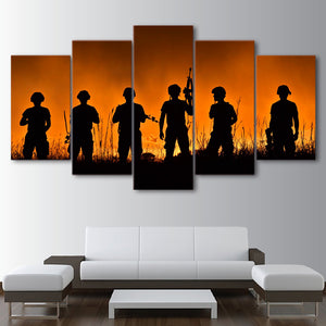 American Soldier Soldiers Sunset Silhouette Wall Art Print on Canvas - ASH Wall Decor - Wall Art Canvas Panel Print Painting