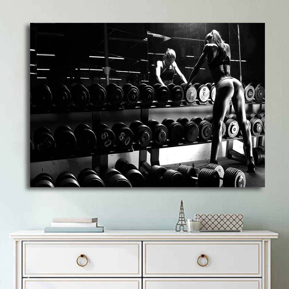 Canvas Art Inspirational Bodybuilding Equipment Fitness Printed Wall Home De