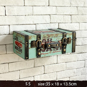 Vintage Retro Leather Painted Luggage Suitcase Box Wall  Decor Shelve - ASH Wall Decor - Wall Art Canvas Panel Print Painting