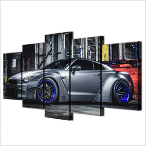 5 Pcs Canvas Art Sports Car NISSAN GTR R35 Skyline Panel Print Picture for Wall : cheap canvas prints wall paintings pictures