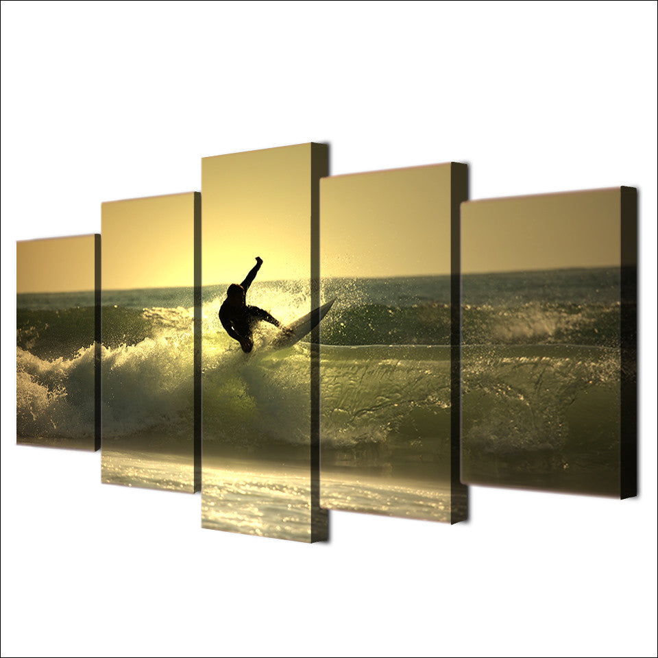 Surfer Surfing on Ocean Wave at Sunset 5 piece Canvas Print - ASH ...