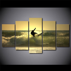 Surfer Surfing on Ocean Wave at Sunset 5 piece Canvas Print : cheap canvas prints wall paintings pictures