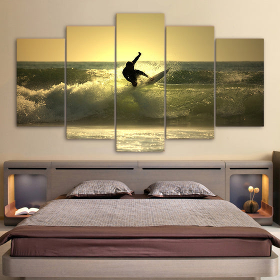 Surfer Surfing on Ocean Wave at Sunset 5 piece Canvas Print - ASH Wall Decor - Wall Art Picture Painting Canvas Living Room