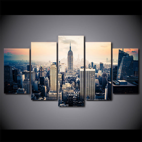 New York City Skyline at sunset - 5 piece printed canvas - ASH Wall Decor - Wall Art Picture Painting Canvas Living Room