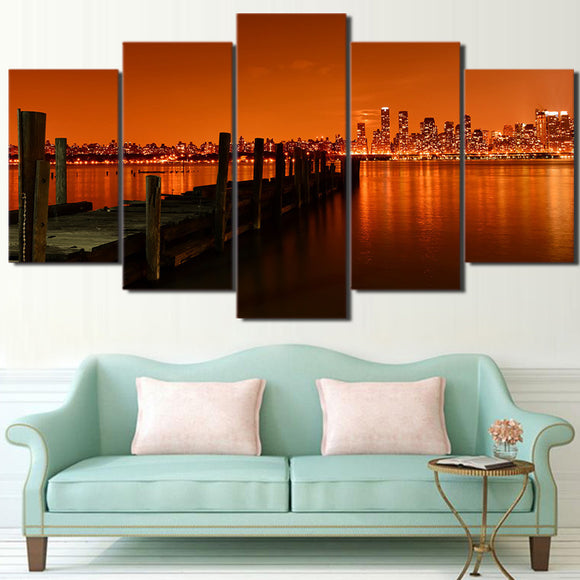 New York City Hudson River in orange tones Canvas Print - ASH Wall Decor - Wall Art Picture Painting Canvas Living Room