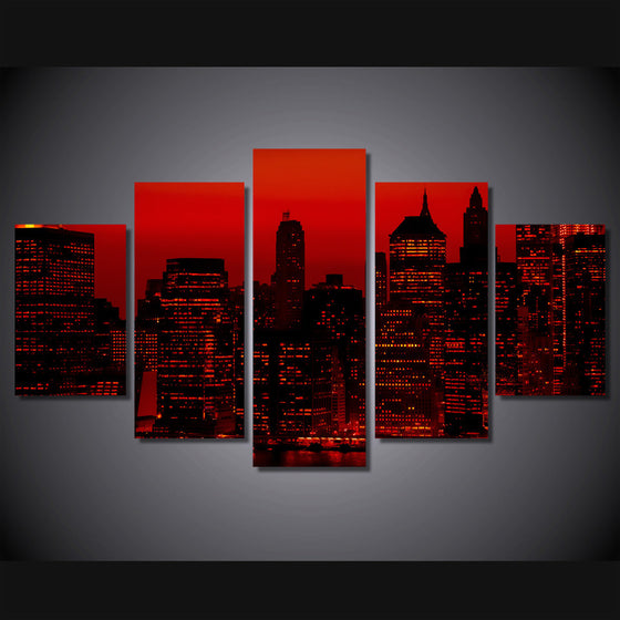 Red sky at night New York City 5 piece wall art canvas - ASH Wall Decor - Wall Art Picture Painting Canvas Living Room