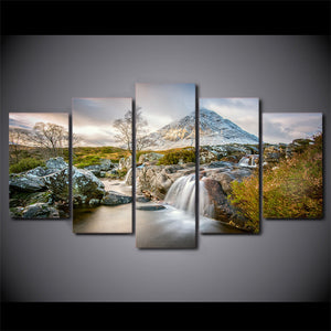 Mountains and Waterfall Summer Nature 5 piece panel panel wall art canvas print : cheap canvas prints wall paintings pictures