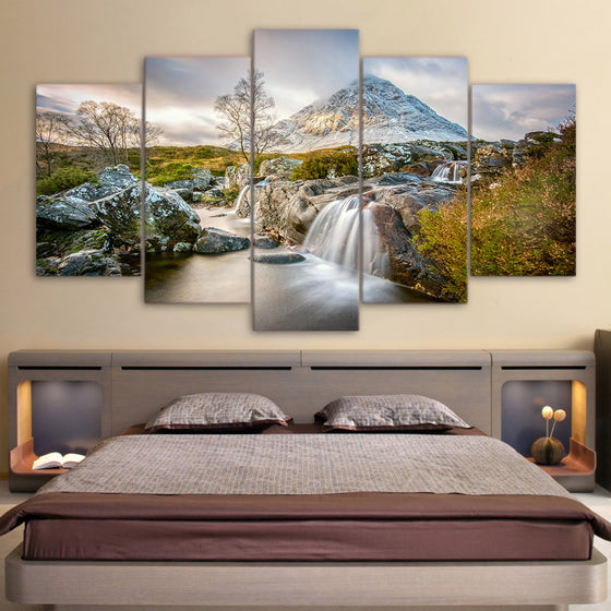 Mountains and Waterfall Summer Nature 5 piece panel wall art - ASH Wall Decor
