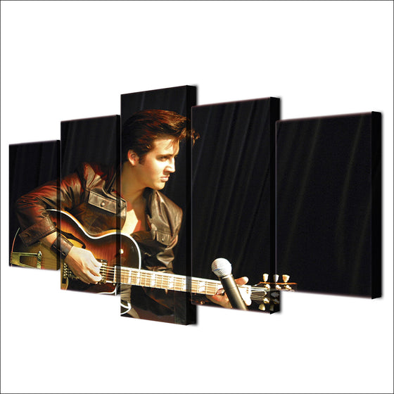Elvis Presley 5 Panel Wall Art Print on Canvas Guitar room decor - ASH Wall Decor - Wall Art Picture Painting Canvas Living Room