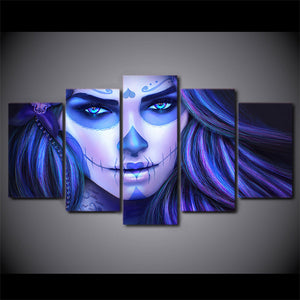 Day of the Dead Face Blue toned wall art - 5 piece - ASH Wall Decor - Wall Art Canvas Panel Print Painting