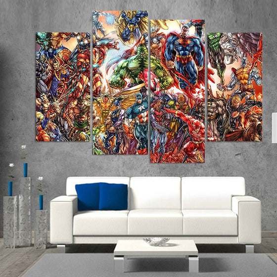 Abstract Marvel Comics HD Printed 4 Piece Wall Art Canvas Superman Hulk - ASH Wall Decor - Wall Art Picture Painting Canvas Living Room