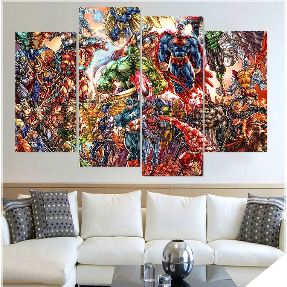 Bon ... Abstract Marvel Comics Superheros 4 Piece Wall Art Canvas Superman Hulk    ASH Wall Decor ...