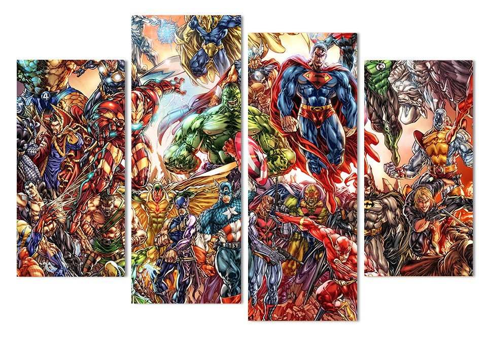 Abstract Marvel Comics Superheros 4 Piece Wall Art Canvas Superman ...