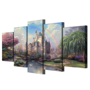 Cinderellas castle  - 5 piece panel Canvas Panel Print Picture Poster : cheap canvas prints wall paintings pictures