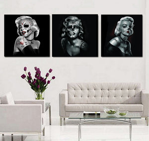 Marilyn Skull Dead Face Modern Home Wall Decor Canvas Picture 3 Panel - ASH Wall Decor - Wall Art Canvas Panel Print Painting