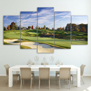 "5 Piece canvas print Golf Course - Golfing Panel Wall Art Picture Print - 44"" : cheap canvas prints wall paintings pictures"