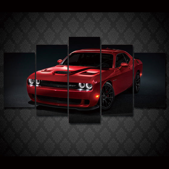 Dodge Challenger Redline Red SRT - 5 piece printed wall art - ASH Wall Decor - Wall Art Picture Painting Canvas Living Room