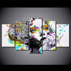 5 piece canvas art wall art - Urban princess modern psychedelic graffiti print : cheap canvas prints wall paintings pictures