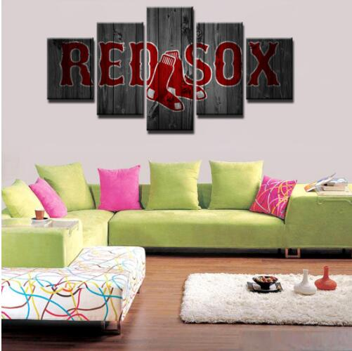 Boston red sox wall art canvas home decor 5 panel canvas print painting wall picture
