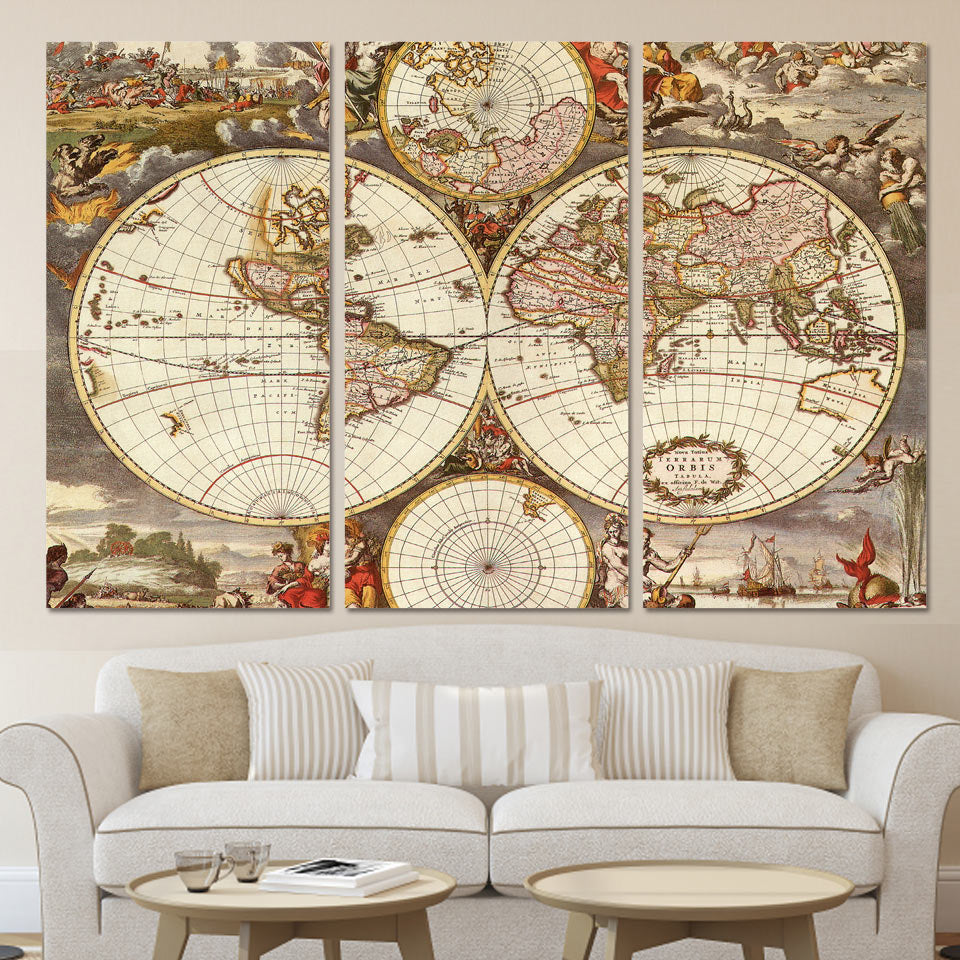 3 Piece Wall Art Canvas Vintage World Map Canvas Print Framed