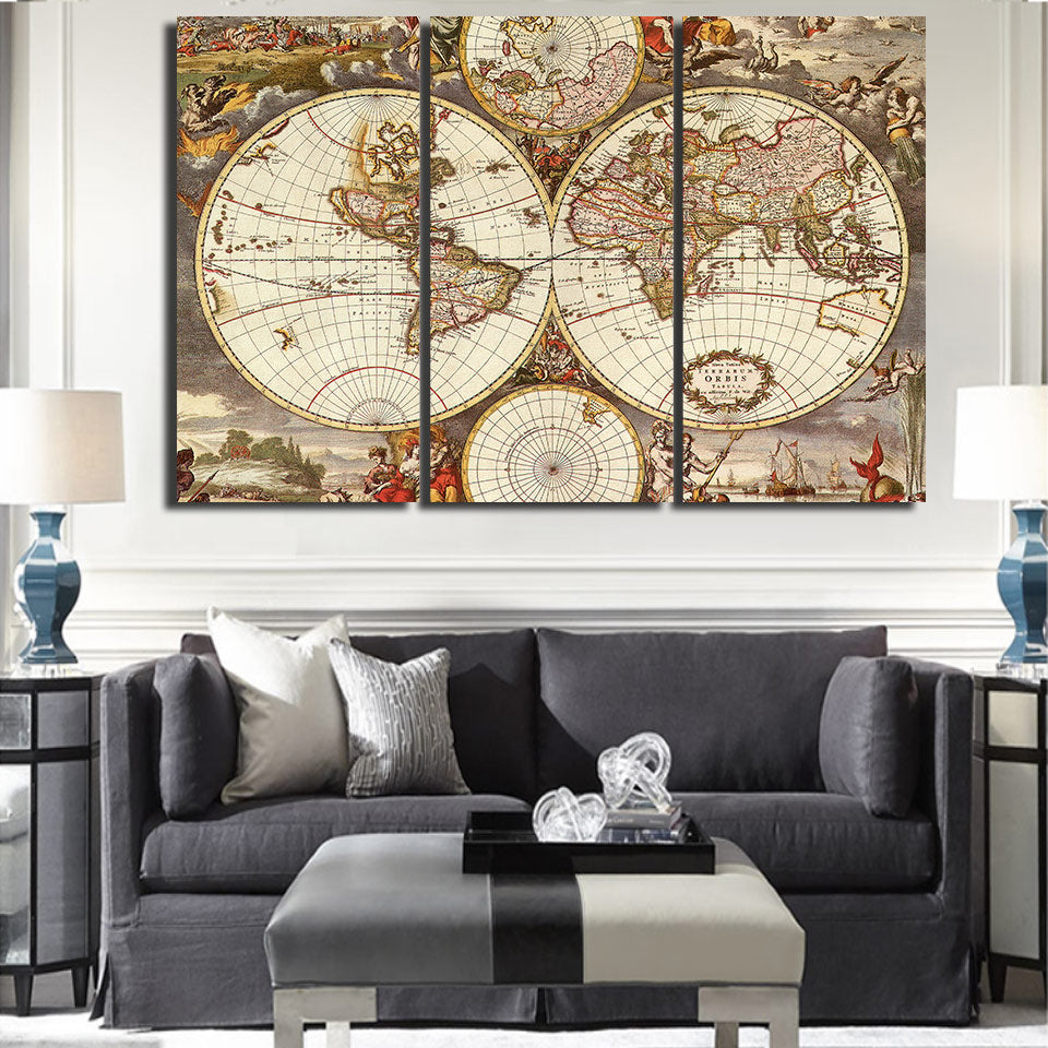 3 piece wall art canvas vintage world map canvas print framed unframed ash wall decor. Black Bedroom Furniture Sets. Home Design Ideas