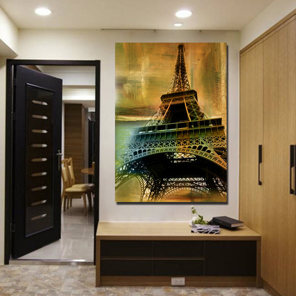 1 Piece Canvas Art Eiffel Tower Vintage Print Wall Picture for Living Room - ASH Wall Decor - Wall Art Canvas Panel Print Painting