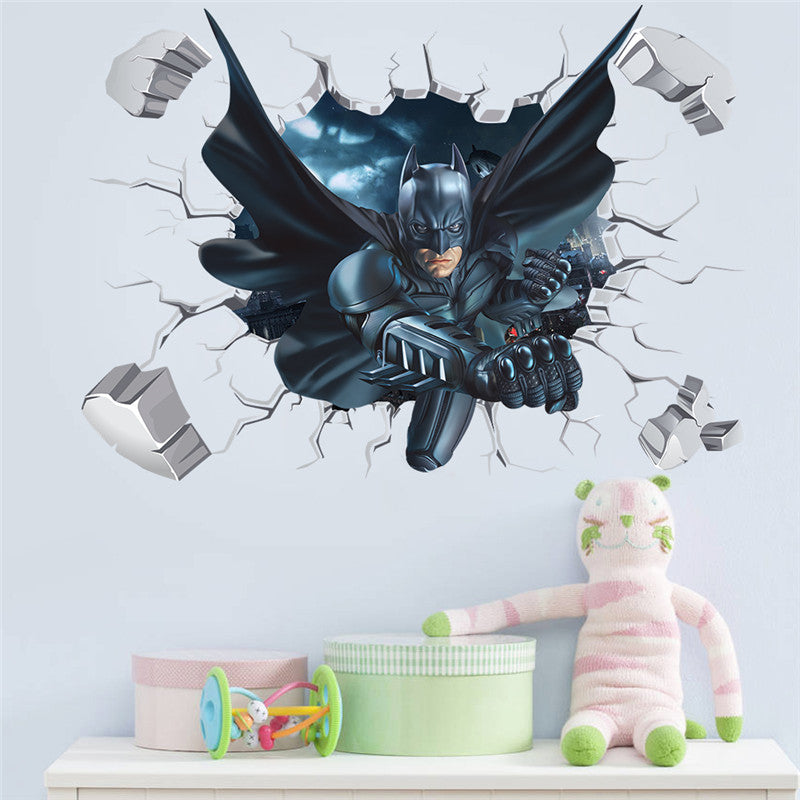... Cartoon Hero Broken Wall Batman Spiderman Wall Sticker For Kids  Children Room Home Decor Wall Art ...