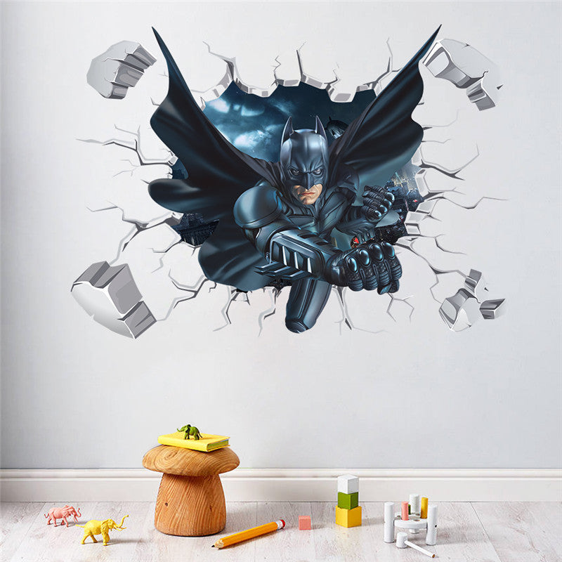 Delightful Cartoon Hero Broken Wall Batman Spiderman Wall Sticker For Kids Children  Room Home Decor Wall Art