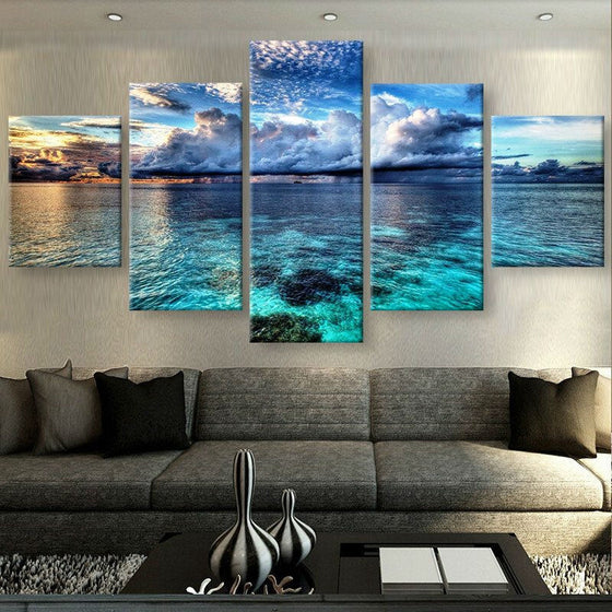 Calm Clear Water Sky canvas wall art print 5 panel Framed UNframed - ASH Wall Decor - Wall Art Canvas Panel Print Painting