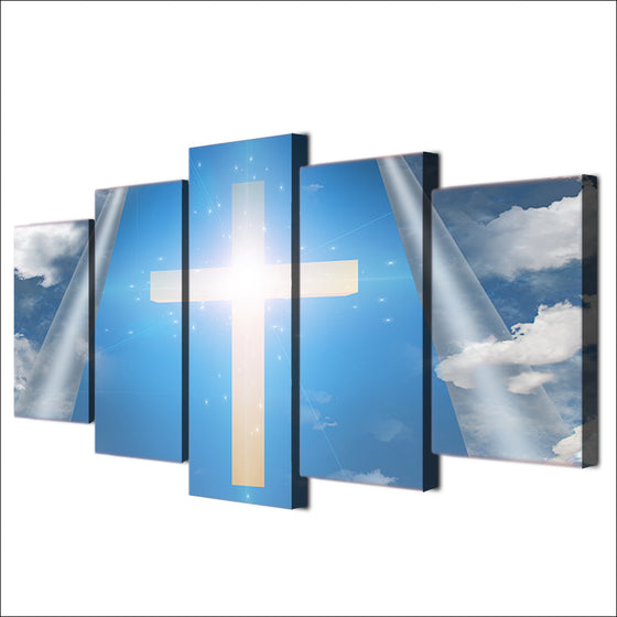 5 Piece Canvas Art Jesus Christian Cross Sky Wall Print Wall Picture for Living